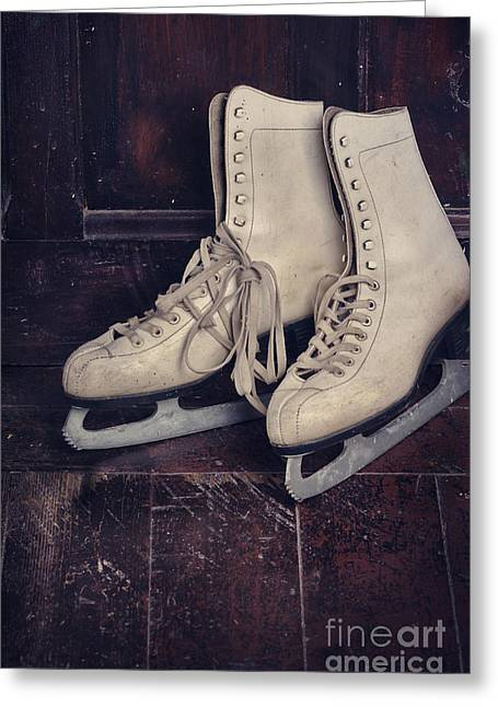 Winter Pyrography Greeting Cards - Ice Skates Greeting Card by Jelena Jovanovic