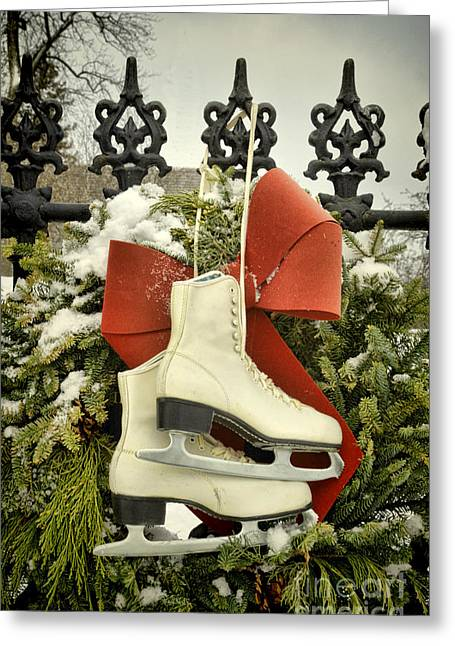 Ice-skating Greeting Cards - Ice Skates on an Iron Gate Greeting Card by Jill Battaglia