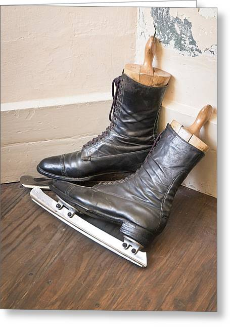 Old Skates Photographs Greeting Cards - Ice skates Greeting Card by Tom Gowanlock