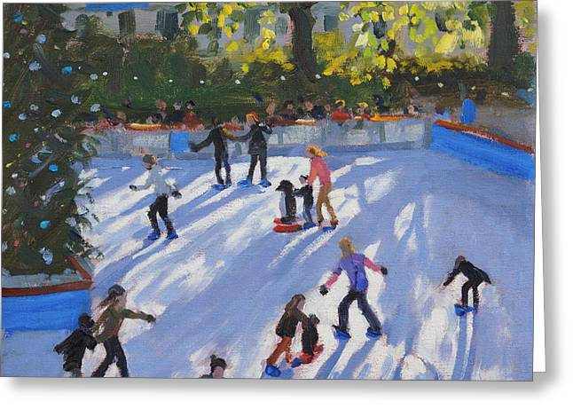 Ice-skating Greeting Cards - Ice skating Greeting Card by Andrew Macara