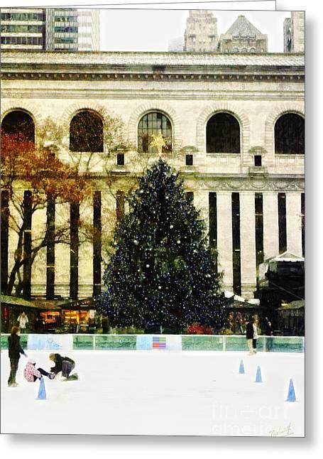 Xmas Tree Greeting Cards - Ice Skating during the Holiday Season Greeting Card by Nishanth Gopinathan