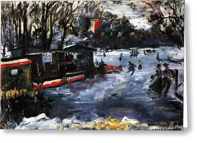 Wintry Greeting Cards - Ice Skating in Berlin Greeting Card by Lovis Corinth