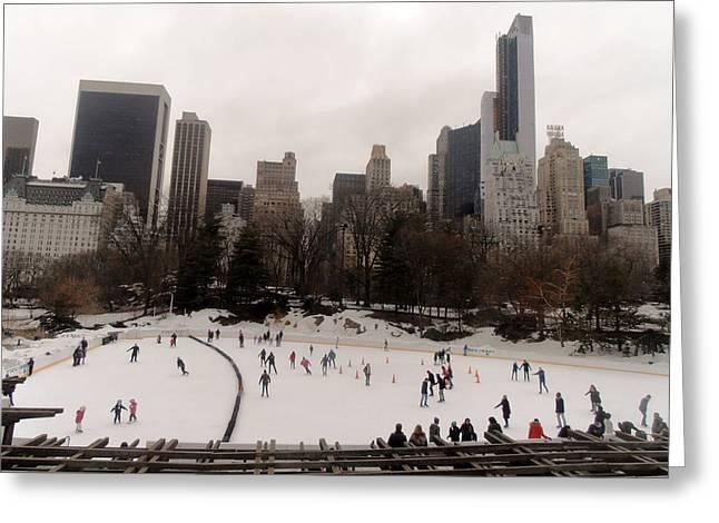 Wollman Rink Greeting Cards - Ice Skating Greeting Card by Martin Jones