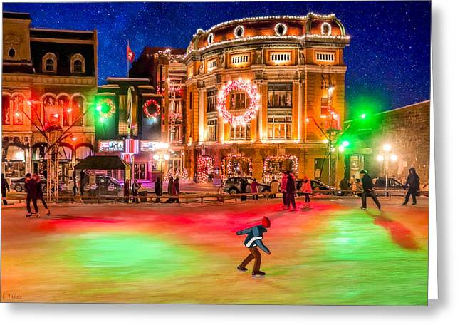 Winter Night Greeting Cards - Ice Skating on a Beautiful Night in Quebec Greeting Card by Mark Tisdale