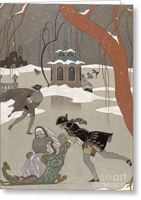 Pond.  Greeting Cards - Ice Skating on the Frozen Lake Greeting Card by Georges Barbier