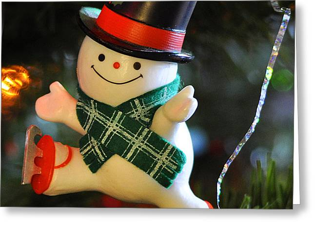 Ice Skating Snowman Greeting Card by Nava  Thompson