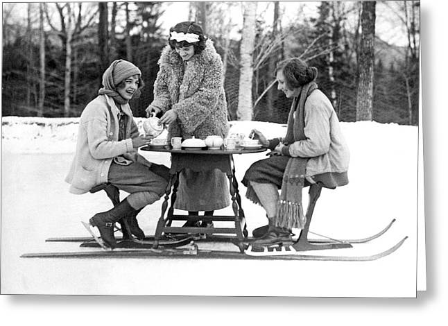 Ice Skating Tea Time Greeting Card by Underwood Archives