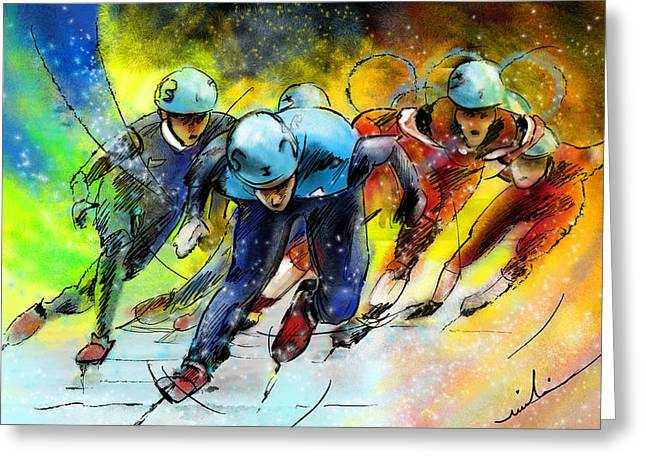 Ice Speed Skating 01 Greeting Card by Miki De Goodaboom