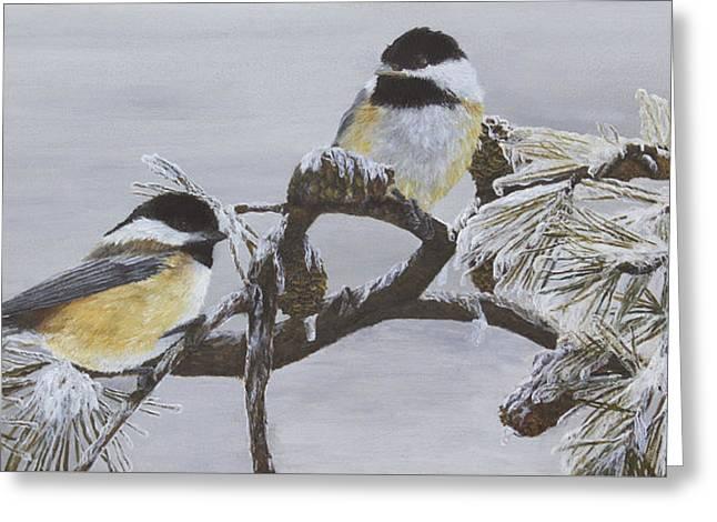 """storm Prints"" Paintings Greeting Cards - Ice Storm Chickadees Greeting Card by Johanna Lerwick"