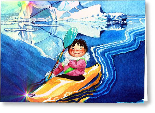 Kids Books Paintings Greeting Cards - Iceberg Kayaker Greeting Card by Hanne Lore Koehler