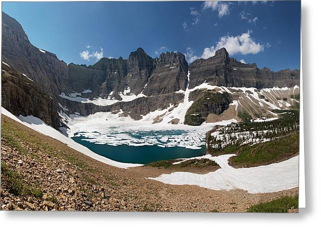 Back Country Greeting Cards - Iceberg Lake Greeting Card by Aaron Aldrich