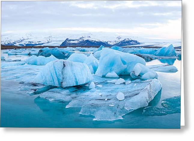 People On Ice Greeting Cards - Icebergs Floating In Glacial Lake Greeting Card by Panoramic Images