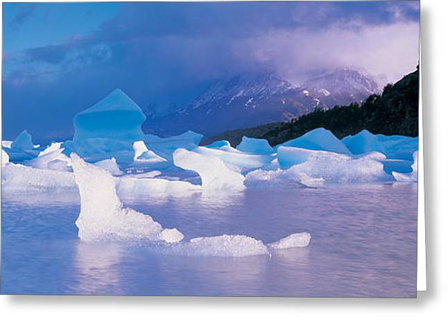 Grey Clouds Greeting Cards - Icebergs Floating On Water, Lago Grey Greeting Card by Panoramic Images