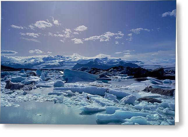 People On Ice Greeting Cards - Icebergs Floating On Water Greeting Card by Panoramic Images