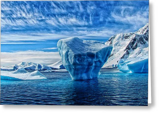 Ocean Vistas Greeting Cards - Icebergs of Antarctica Greeting Card by Mountain Dreams