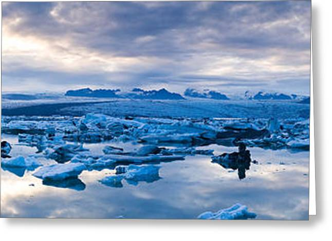 Climate Change Greeting Cards - Icebergs In A Glacial Lake, Jokulsarlon Greeting Card by Panoramic Images
