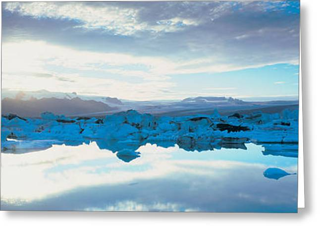 Reflections On Snow Greeting Cards - Icebergs In A Lake, Jokulsarlon Lagoon Greeting Card by Panoramic Images