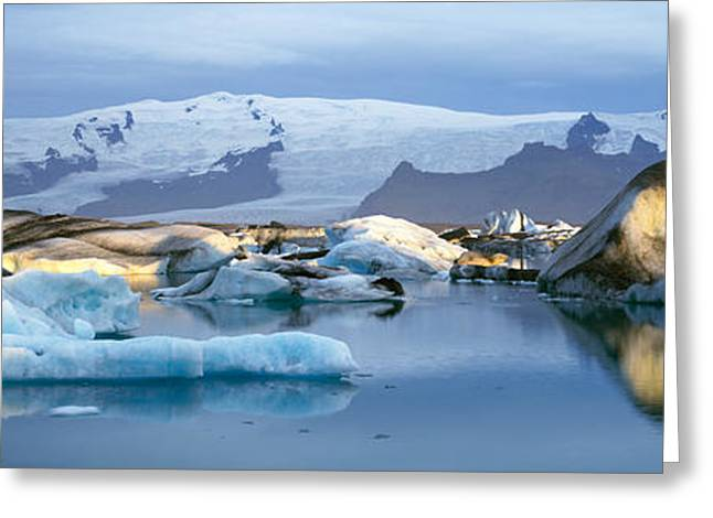 Placid Blue Greeting Cards - Icebergs On Jokulsarlon Lagoon, Water Greeting Card by Panoramic Images