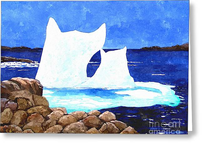 Green Barbara Griffin Art Greeting Cards - Icebergs - Unique Shape Bergs - Northern Visitors Greeting Card by Barbara Griffin