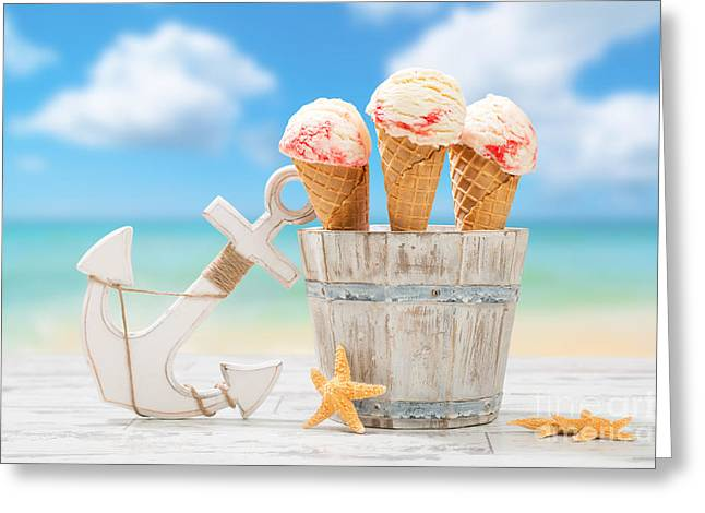 Raspberries Greeting Cards - Icecream At The Beach Greeting Card by Amanda And Christopher Elwell