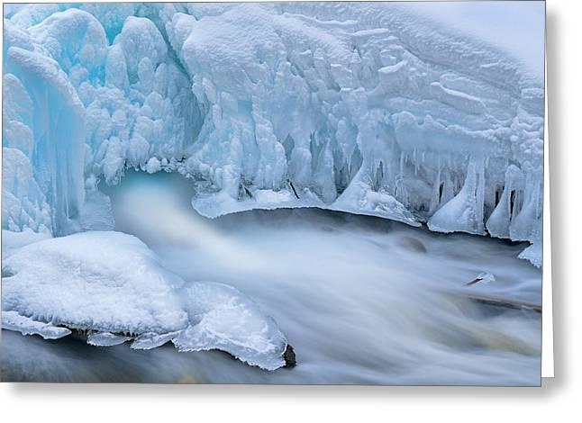 Beautiful Creek Greeting Cards - Iced Gull Creek Cascade Greeting Card by Dean Pennala
