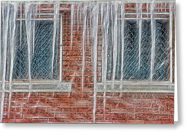Wintry Mixed Media Greeting Cards - Iced Over Greeting Card by Steve Ohlsen