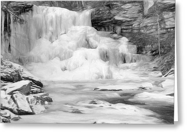 Water Fall Digital Art Greeting Cards - Iced Greeting Card by Sharon Batdorf