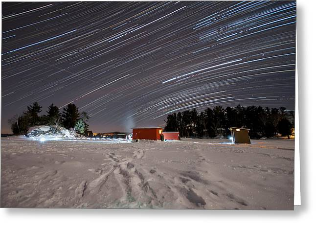 Startrails Digital Greeting Cards - Icefishing stars Greeting Card by Mark Highfield
