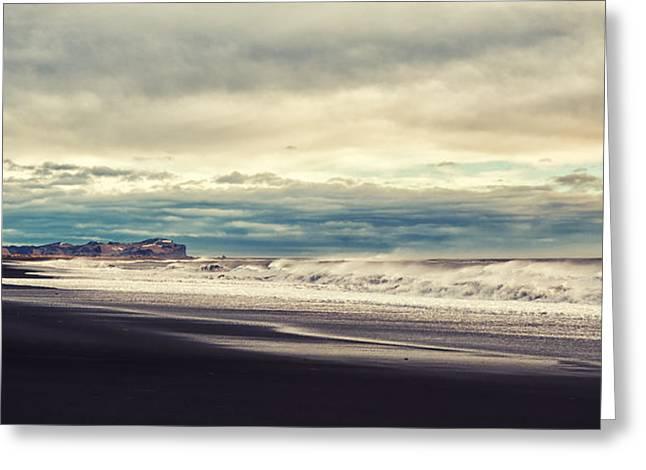Ocean Panorama Greeting Cards - Iceland. Black beach Greeting Card by Zina Zinchik