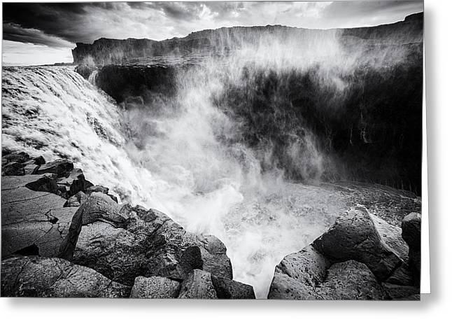 Bw Waterfalls Greeting Cards - Iceland Dettifoss waterfall black and white Greeting Card by Matthias Hauser