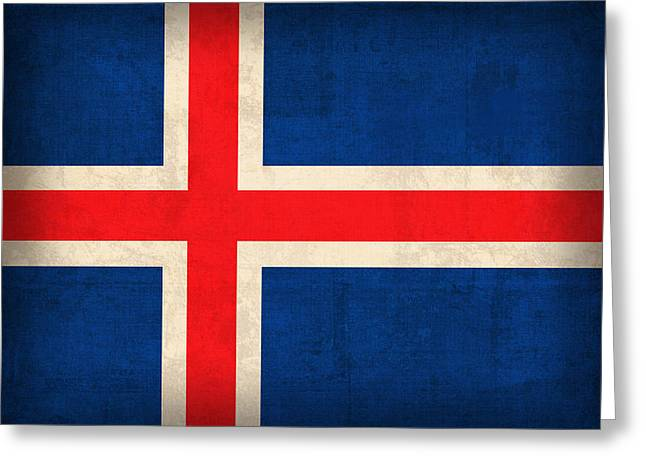 Europe Mixed Media Greeting Cards - Iceland Flag Vintage Distressed Finish Greeting Card by Design Turnpike