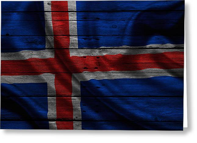 Flag Pole Greeting Cards - Iceland Greeting Card by Joe Hamilton