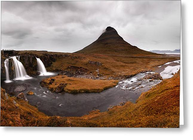 Iceland Greeting Cards - Iceland Kirkjufellfoss Greeting Card by Nina Papiorek