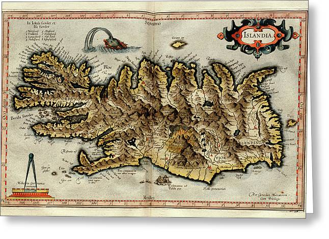 Iceland Greeting Card by Library Of Congress, Geography And Map Division