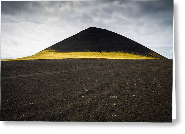 Minimalist Landscape Greeting Cards - Iceland minimalist landscape brown black yellow Greeting Card by Matthias Hauser