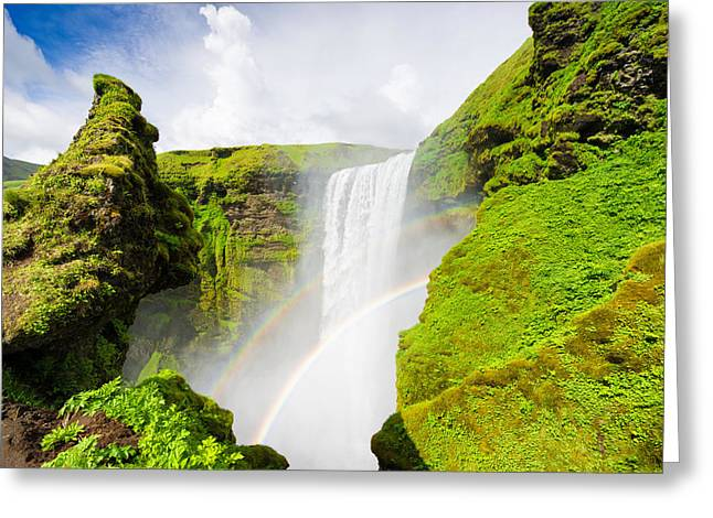 Fresh Green Greeting Cards - Iceland Skogafoss waterfall with rainbow Greeting Card by Matthias Hauser