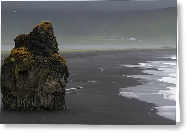 Iceland, Vik Basalt Column Rises Greeting Card by Jaynes Gallery