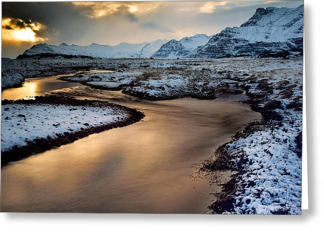 Colorado Captures Greeting Cards - Iceland Winter Glow Greeting Card by Mike Berenson