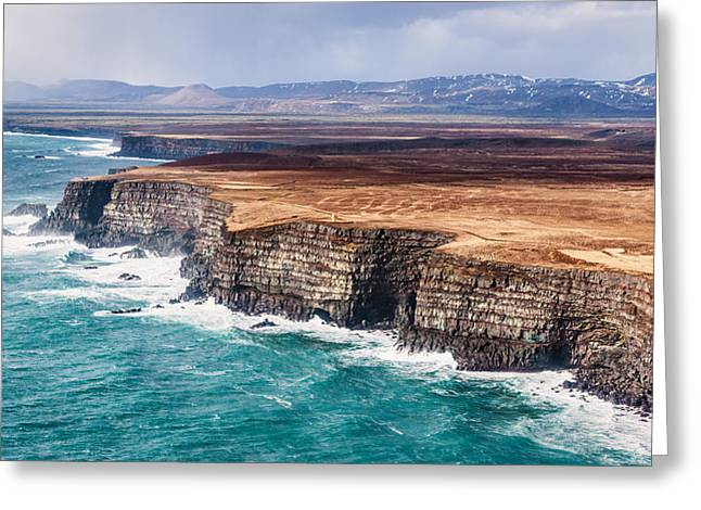 Icelandic Coast - Iceland Aerial Photograph Greeting Card by Duane Miller