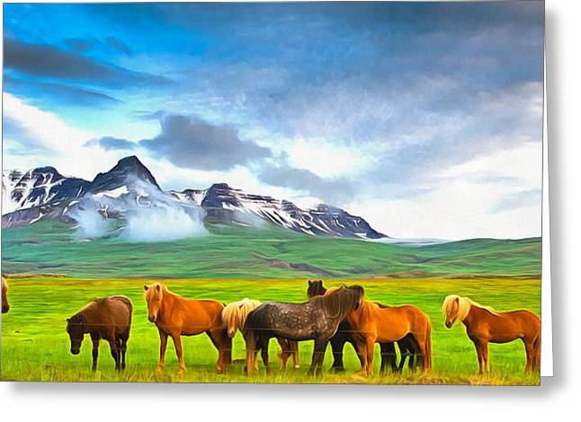 Icelandic Horses In Iceland Painting With Vibrant Colors Greeting Card by Matthias Hauser