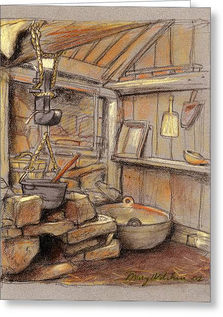 Kitchen Pastels Greeting Cards - Old Icelandic Farm Kitchen Greeting Card by Mary Wilshire