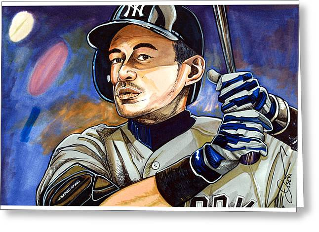 Baseball Art Greeting Cards - Ichiro Suzuki - Samurai Greeting Card by Dave Olsen