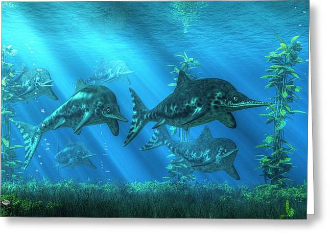 Aquatic Greeting Cards - Ichthyosaurs Greeting Card by Daniel Eskridge