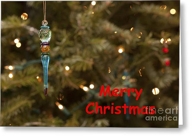 Christs Birthday Greeting Cards - Icicle Ornament - Merry Christmas Greeting Card by Mary Koenig Godfrey