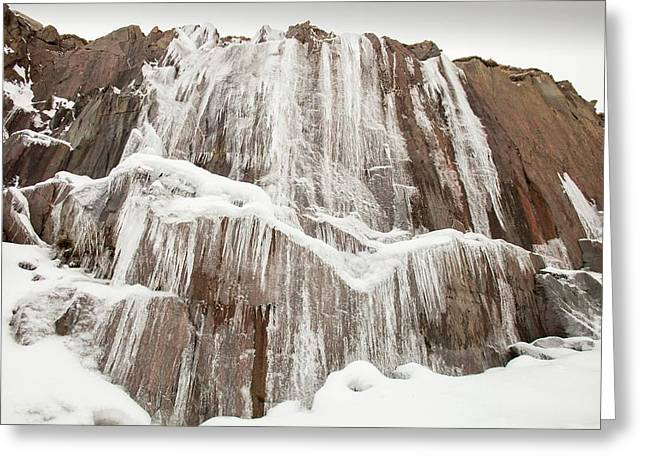 Icicles At A Closed Slate Quarry Greeting Card by Ashley Cooper