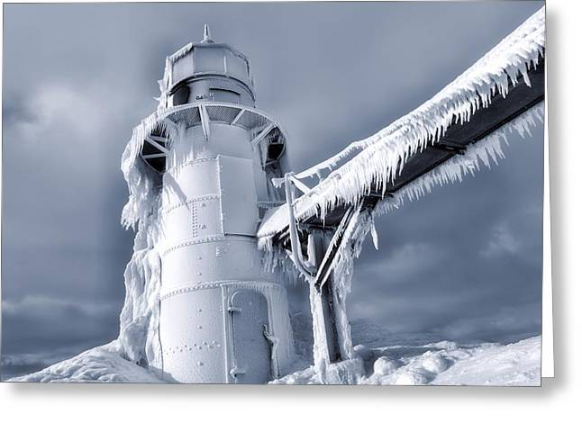 Snowstorm Greeting Cards - Icicles On Lighthouse In Michigan Greeting Card by Dan Sproul