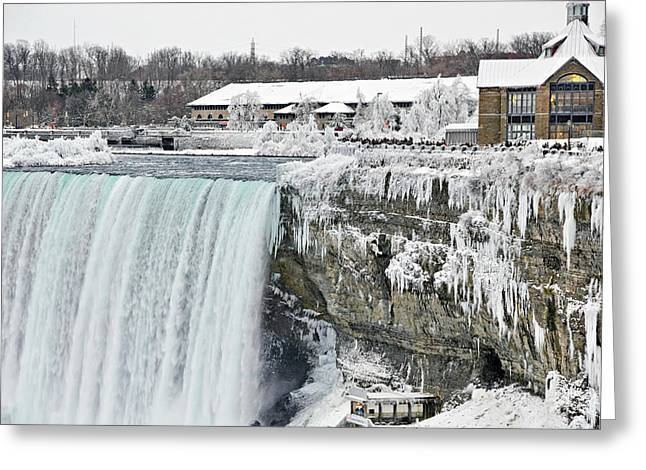 Behind The Falls Greeting Cards - Icicles over the falls Greeting Card by Simply  Photos