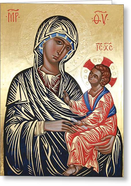 Byzantine Icon Greeting Cards - Icon after the Kahn Madonna Greeting Card by Peter Murphy