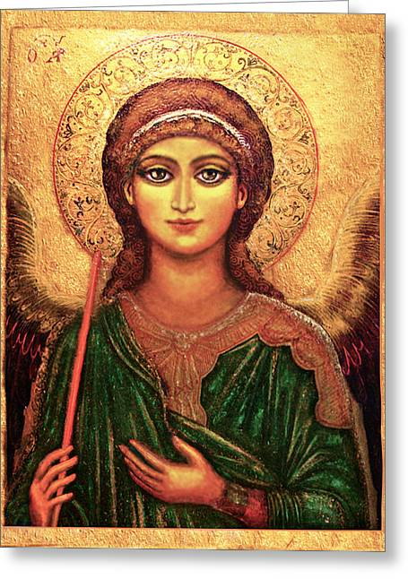 Christ Child Mixed Media Greeting Cards - Icon Angel Greeting Card by Ananda Vdovic