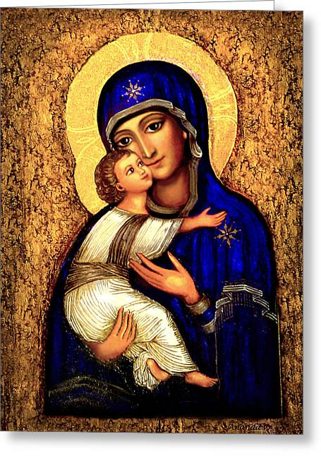 Byzantine Greeting Cards - Icon Madonna Greeting Card by Ananda Vdovic